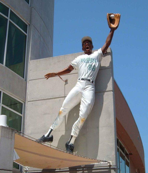 Outfielder Statue