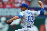 ST. LOUIS, MO - MAY 31: Reliever Yimi Garcia #63 of the Los Angeles Dodgers pitches against the St. Louis Cardinals in the eighth inning at Busch Stadium on May 31, 2015 in St. Louis, Missouri. (Photo by Dilip Vishwanat/Getty Images)